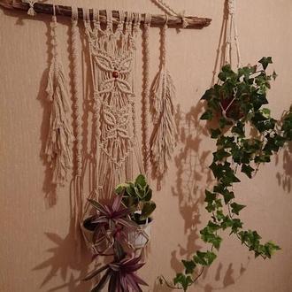 Подвесное кашпо панно для комнатных растений на два вазона