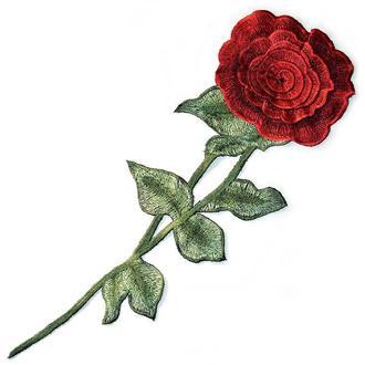 Роза красная большой бутон аппликация Embroidery 130x410 мм (51080)
