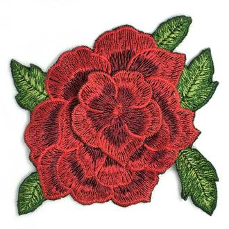 Роза красная большой бутон аппликация Embroidery 100x95 мм (51513)