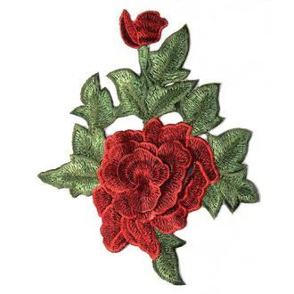 Роза красная 2 бутона нашивка на сетке Embroidery 180x240 мм (51081)