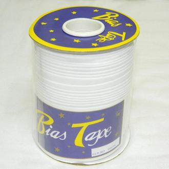 Хлопковая косая бейка,1,5см - 50%полиэстер (100м), цвет белый (657-Л-0046)