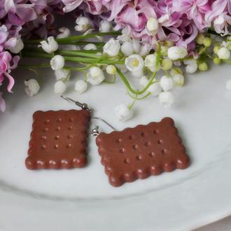 """Серьги """"Печеньки"""" из полимерной глины"""