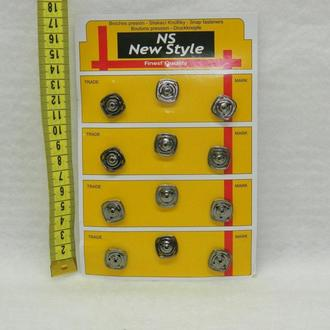 D=15мм кнопки для одежды пришивные (декоративные) графит (653-Т-0257)