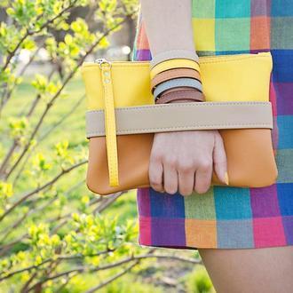 "Жовтий клач - сумочка через плече ""CarryMe"" Клатч з екошкіри. Оранжевий клатч."