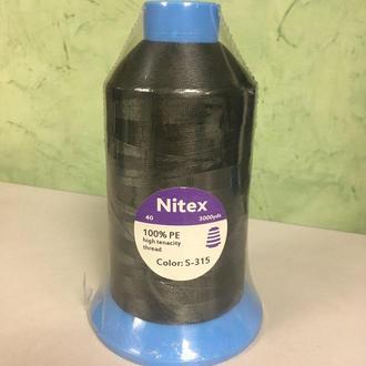 Нить повышенной прочности 100% РЕ 40 цв S-315 серый темный (боб 3000ярдов) Nitex (ВЕЛЛ-274)