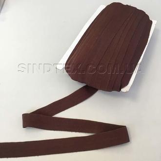 Трикотажная косая бейка (эластичная, стрейч) 2см х 50ярдов (коричневая) (657-Л-0665)