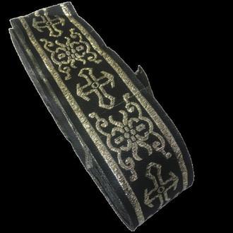 Тесьма церковная (галун) 5 см. черная с золотом (653-Т-0704)