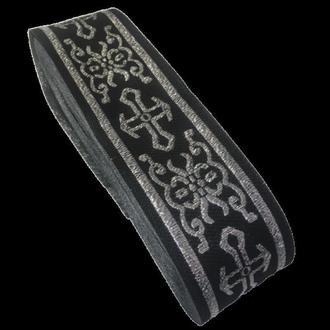 Тесьма церковная (галун) 5 см. черная с серебром (653-Т-0705)