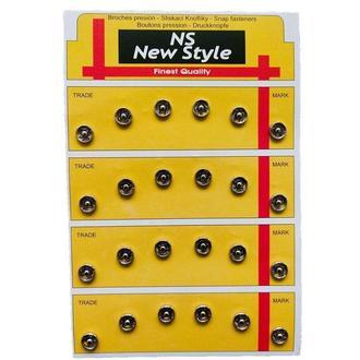 D=8,5мм пришивные застежки-кнопки для одежды New Style 24шт металлические цвет серый (653-Т-0269)