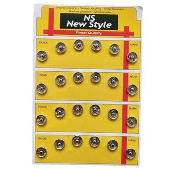 D=10мм пришивные застежки-кнопки для одежды New Style 24шт металлические цвет серый (653-Т-0036)