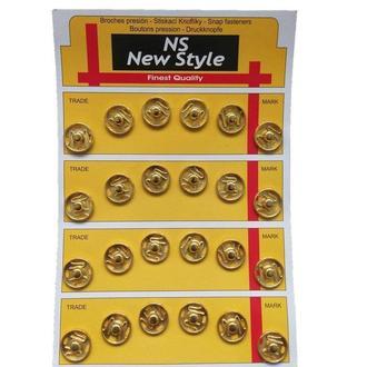 D=15мм пришивные застежки-кнопки для одежды New Style 24шт металлические цвет золотой (653-Т-0066)