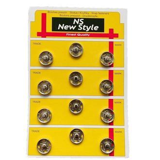 D=17мм пришивные застежки-кнопки для одежды New Style 12шт металлические цвет серый (653-Т-0274)