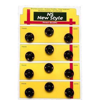 D=17мм пришивные застежки-кнопки для одежды New Style 12шт металлические цвет черный (653-Т-0075)