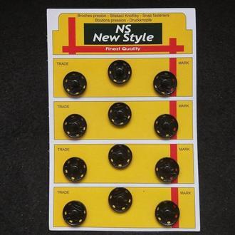 D=19мм пришивные застежки-кнопки для одежды New Style 12шт металлические цвет черный (653-Т-0047)