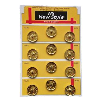 D=21мм пришивные застежки-кнопки для одежды New Style 12шт металлические цвет золотой (653-Т-0070)
