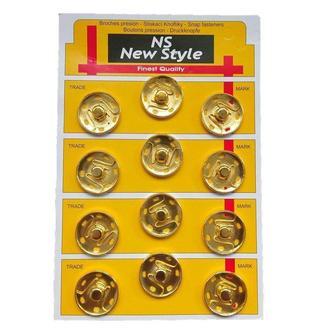 D=25мм пришивные застежки-кнопки для одежды New Style 12шт металлические цвет золотой (653-Т-0112)