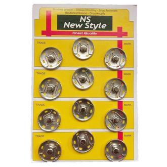 D=25мм пришивные застежки-кнопки для одежды New Style 12шт металлические цвет серый (653-Т-0116)