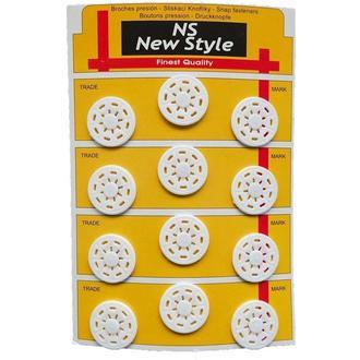 D=25мм пришивные кнопки для одежды New Style 12шт пластиковые цвет белый (653-Т-0276)