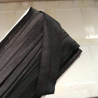 Трикотажная косая бейка (эластичная, стрейч) 3см х 30м (черная) (657-Л-0708)