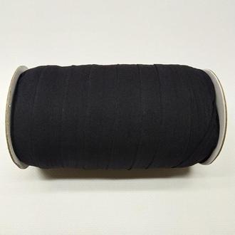 А-039 Трикотажная косая бейка (стрейч. эластичная) 2см х 50ярдов (черная) (СИНДТЕКС-0249)