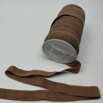 А-030 Трикотажная косая бейка (стрейч. эластичная) 2см х 50ярдов (темный беж) (СИНДТЕКС-0252)