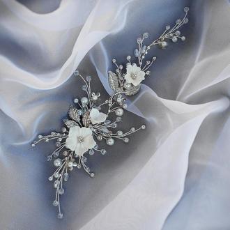 Свадебное украшение для волос, веточка в прическу невесты, украшение в прическу, ободок