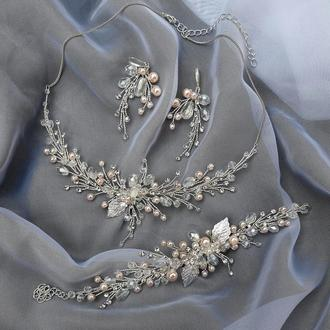 Свадебное колье и серьги, украшение на шею , комплект украшений для невесты, колье и серьги
