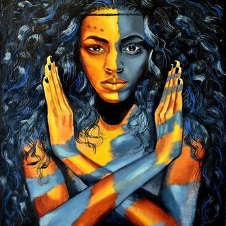 Африканка. Картина маслом на золотом акриле, 40х50, оргалит