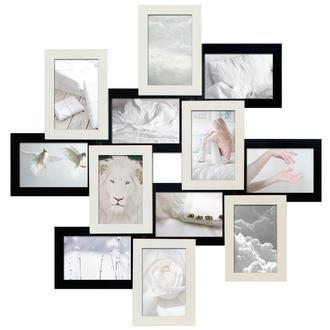 Деревянная мультирамка для фото 12 в 1 Зигзаг Белое и Черное