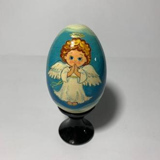 """Яйцо деревянное расписное на подставке """"Ангел"""""""