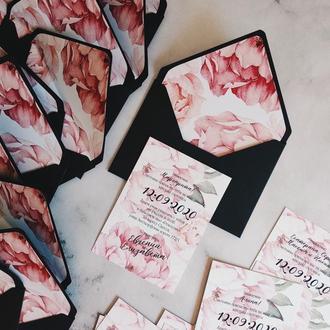Black Peony Свадебные приглашения / подарочные сертификаты весільні запрошення сертифікат