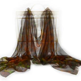 Шелковый шарф, газ-шифон полупрозрачный, зеленый, оранжевый, коричневый
