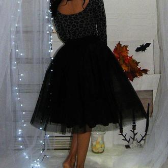 Черная юбка пачка прорезиненный пояс, юбка пачка миди