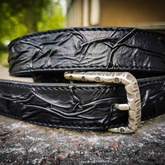 Кожаный черный ремень, стильный черный ремень, крутой ремень подарок парню