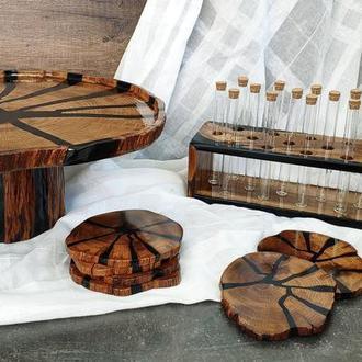 Комплект из тортовницы, подставок и органайзера для специй, кухонный подарочный комплект