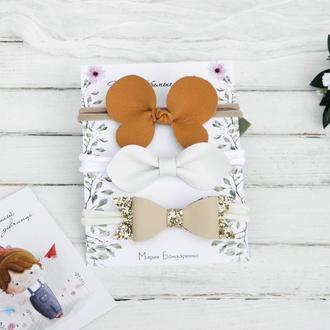 Повязка с бантиками для девочки / Осенняя повязка малышке / Подарок девочке на год