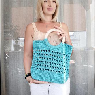 Сумка для пляжа или прогулки, сумка с деревянными ручками, эксклюзивная сумка