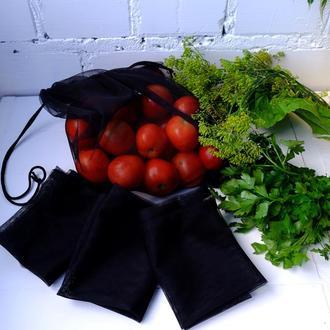 Эко мешок черный, еко мешочки для покупок, эко пакет, сеточка, фруктовка, мішечки zero weste