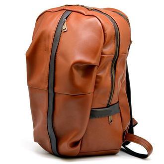 Мужской кожаный городской рюкзак рыжий с коричневым GB-7340-3md TARWA