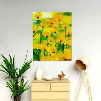 Картина маслом «Желтые одуванчики», 40х50