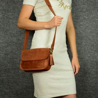 """Женская сумка """"Модель №25"""" Винтажная кожа цвет Коньяк"""