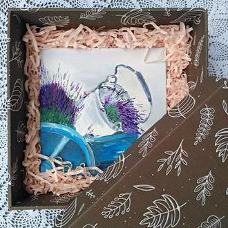 Картина маслом «Прованс» 20х20, в подарунковій коробці