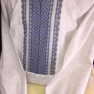 Гуцульська вишиванка чоловіча. Сірий льон, ручна робота вишивка та мережка. TM SavchukVyshyvka