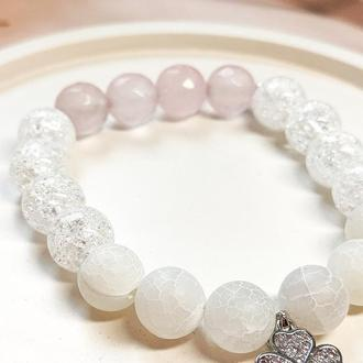 Браслет из натуральных камней, браслет из хрусталя, браслет из розового кварца, браслет из агата
