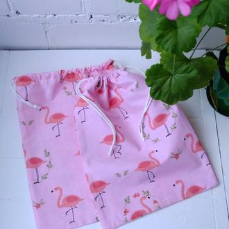 Эко мешочек из хлопка с фламинго, эко торбочки, мешки для продуктов, хранения