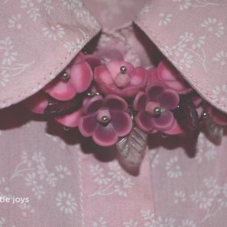 Колье с цветами ручной работы