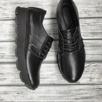 Чёрные кожаные кроссовки