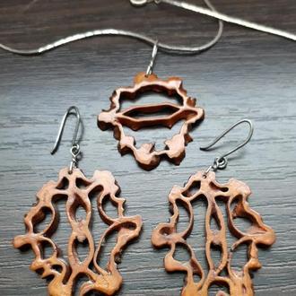 Комплект украшений серьги кулон подвеска маньчжурский орех hand made ручная работа