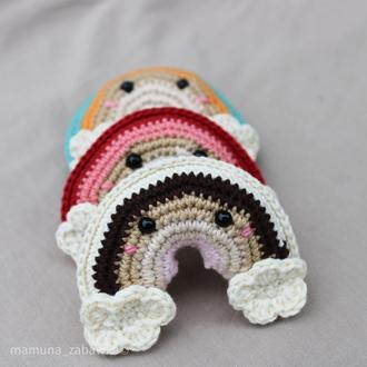 Вязанная радуга, маленькая мягкая игрушка, декор детской