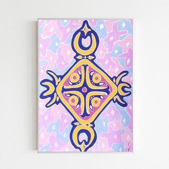 Розовая картина в детскую комнату Абстракция Синий цвет
